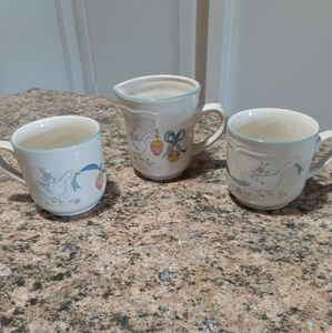 Japanese stoneware mugs and creamer
